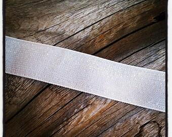 1 m of gorgeous glitter, Velvet Ribbon white 15 mm