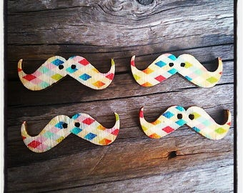 Set of 4 Wood Mustache patterned diamond 30 mm x 10 mm buttons