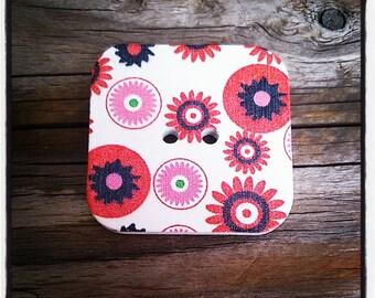 Square wooden flowers - 2 holes buttons wholesale