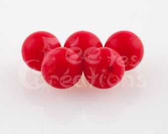 10 pearls 12mm round red silicone pacifier, rattle etc.
