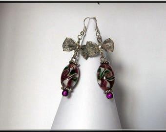 Magic Pearl and purple glass lampwork bead earrings.