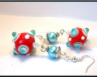 Bead picot glass Lampwork, Swarovski crystal earrings