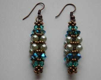 Kojima turquoise and bronze swarovski crystals earrings