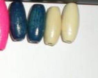 6 white olive wood beads