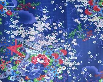"Blue ""Japanese garden"" pattern PVC coated fabrics"