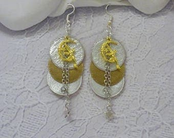 EARRINGS 3 ROUND LEATHER WITH 2 DIFFERENT COLORS SILVER AND GOLD