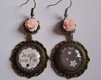 """I'm a fairy II"", cabochon earrings bronze dangle"
