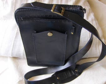 Black leather bag handmade by me