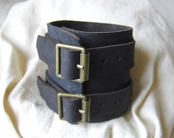 Handmade strength wide bracelet bold dark brown leather