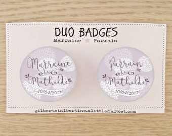 Duo badges godmother/Godfather 3.8 cm Japanese flowers