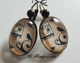 """Bronze metal Stud Earrings """"birds and pretty old bird cage"""""""