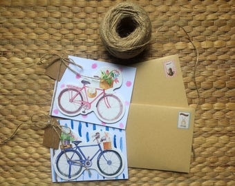Set of Two Bike Handmade Greeting cards, Bicycle cats design, Birthday, Anniversary 3D card, Card for girlfriend, Blank paper card