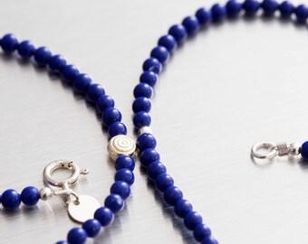 Round Lapis lazuli beaded necklace