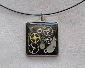 Neck + square pendant, resin and watch parts Steampunk