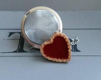Tea Infuser teaspoon, stainless steel, tart heart Strawberry in resin ball