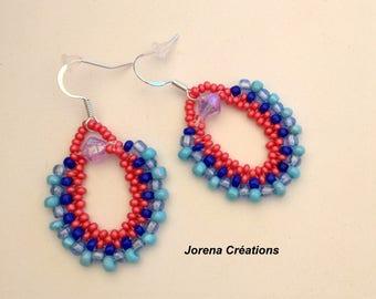 Blue and orange seed beads earrings