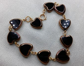 Black heart shaped glass beaded bracelet