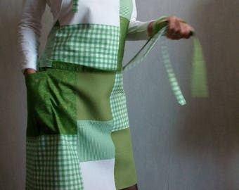 Small charms and green, plain gingham apron