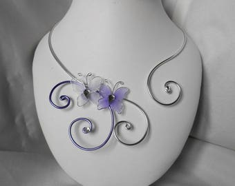 LYLA child necklace with butterflies purple & white