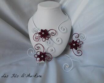 ANAIS 3 piece necklace set, bracelet & Burgundy comb
