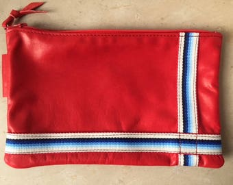 Red flat lamb leather pouch