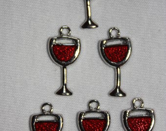 2 red wine cup charms