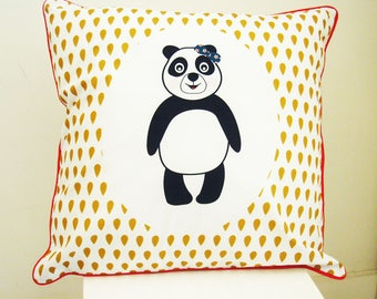 Cushion cover 40 x 40 cm - white and mustard panda pattern