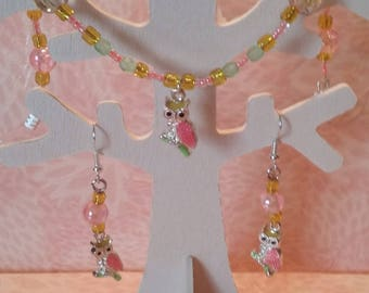 Set earrings / Bracelet - colorful owls