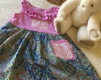 Upcyled Repurposed Altered Girls Dress 6/6X