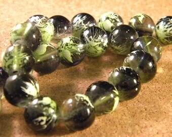 10 pearls glass translucent technology - 12 mm-black / green PE35