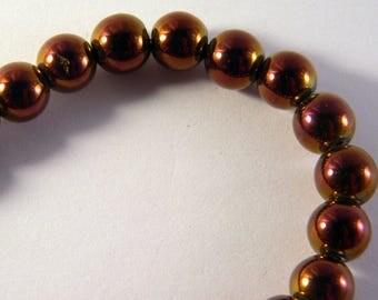 5 round hematite 8 mm purple - shamballa bracelet beads