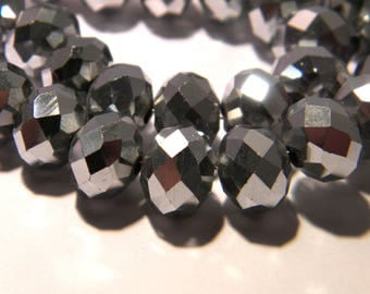 10 pearls glass electroplate faceted - 10 x 8 mm - abacus - abacus - faceted silver-1 F111 rondelle bead