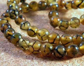 AG100 6 mm dragon vein agate 10 beads