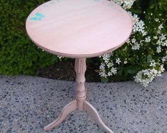 weathered old small pedestal table