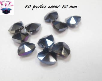 10 glass beads 10 mm black heart shape faceted