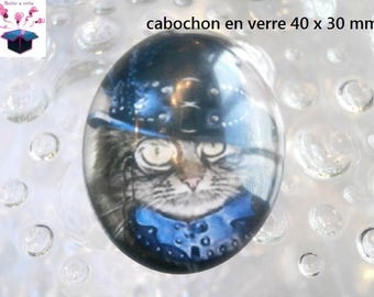 1 40x30mm streampunk cat themed glass cabochon