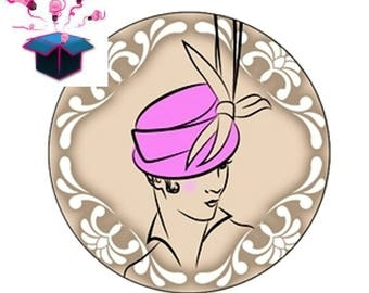 1 cabochon clear 20mm theme hats