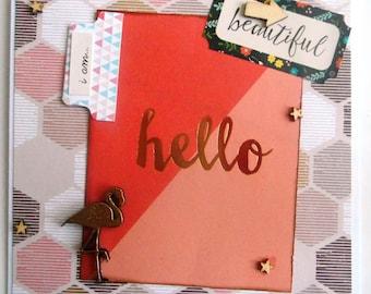 greeting card ' hello beautiful' gold