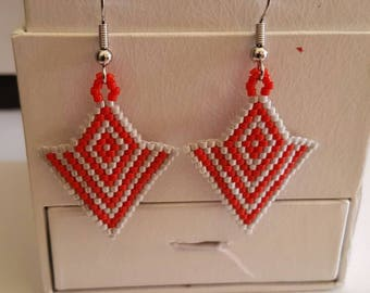 Red and grey geometric earrings