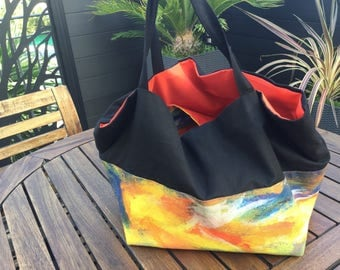 Hand painted yellow and black fabric tote bag