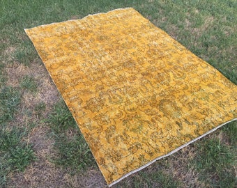 Yellow rug,Overdyed Turkish yellow color area rug,yellow color rug,overdyed area rug,low pile rug,distressed rug,boho rug185x130/6'4x2