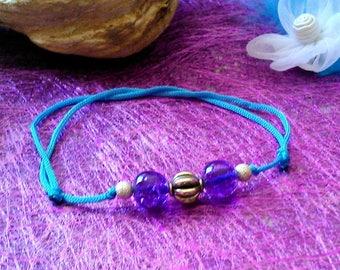 Bracelet purple crackled beads