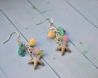 Navy earrings hooks 925 Silver sea star