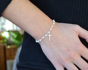 Bracelet with silver cross Rosary Style