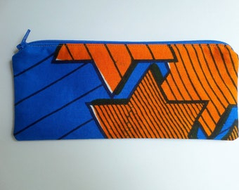 Pencil Case African Wax in Blue and Orange, Stars Print, Fully Lined, Zippered