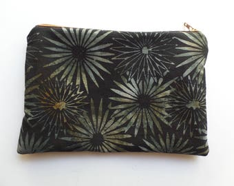 Zippered Cosmetic Bag, Makeup Pouch, Toiletries Purse, Pencil Case, in Black and Grey Batik Fabric, Fully Lined