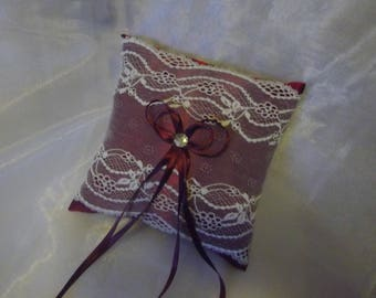 Burgundy satin and ivory lace wedding ring pillow cushion