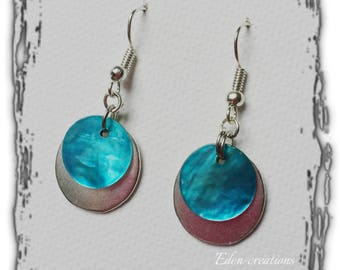 Dangle earrings turquoise sequin Pearl and silver sequin