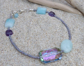 Bracelet stone, Amethyst, amazonite and Swarovski Crystal, green and purple