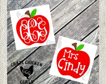 Teacher Apple Monogram Decal - Teacher's Apple Decal